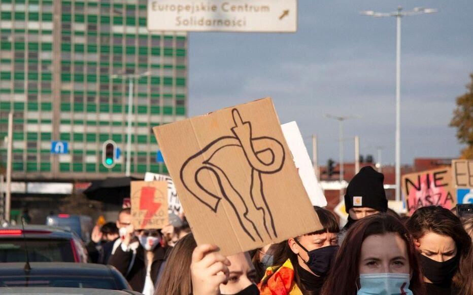 Des manifestantes à Gdansk, Pologne ce 24 octobre.